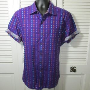 Robert Graham Purple Graphic S/S Shirt Men XL